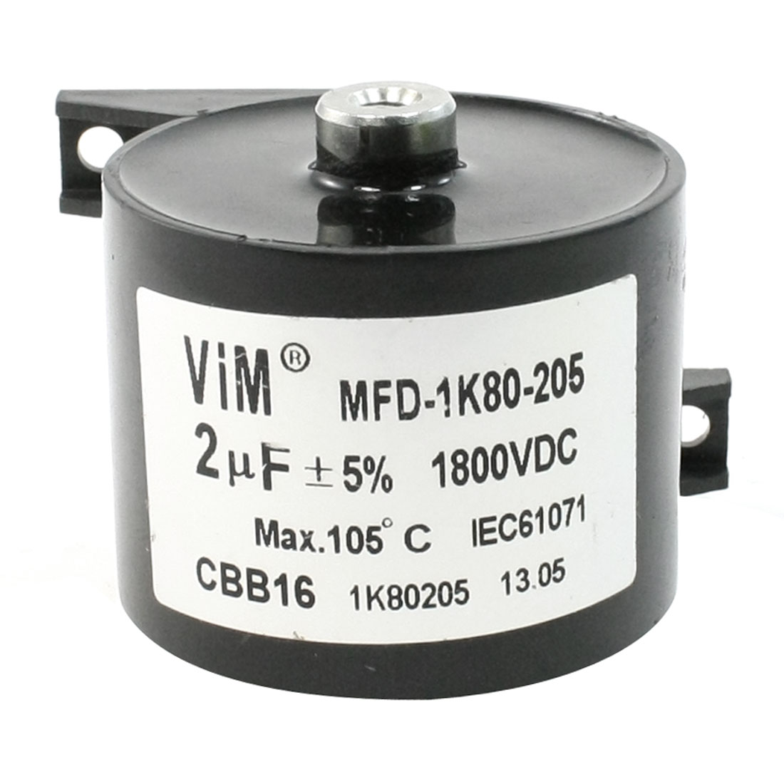Black Plastic Housing CBB16 2uF 1800VDC Motor Run Capacitor
