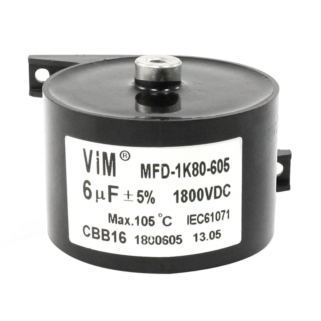 Black Plastic Housing CBB16 6uF 1800VDC Motor Running Capacitor