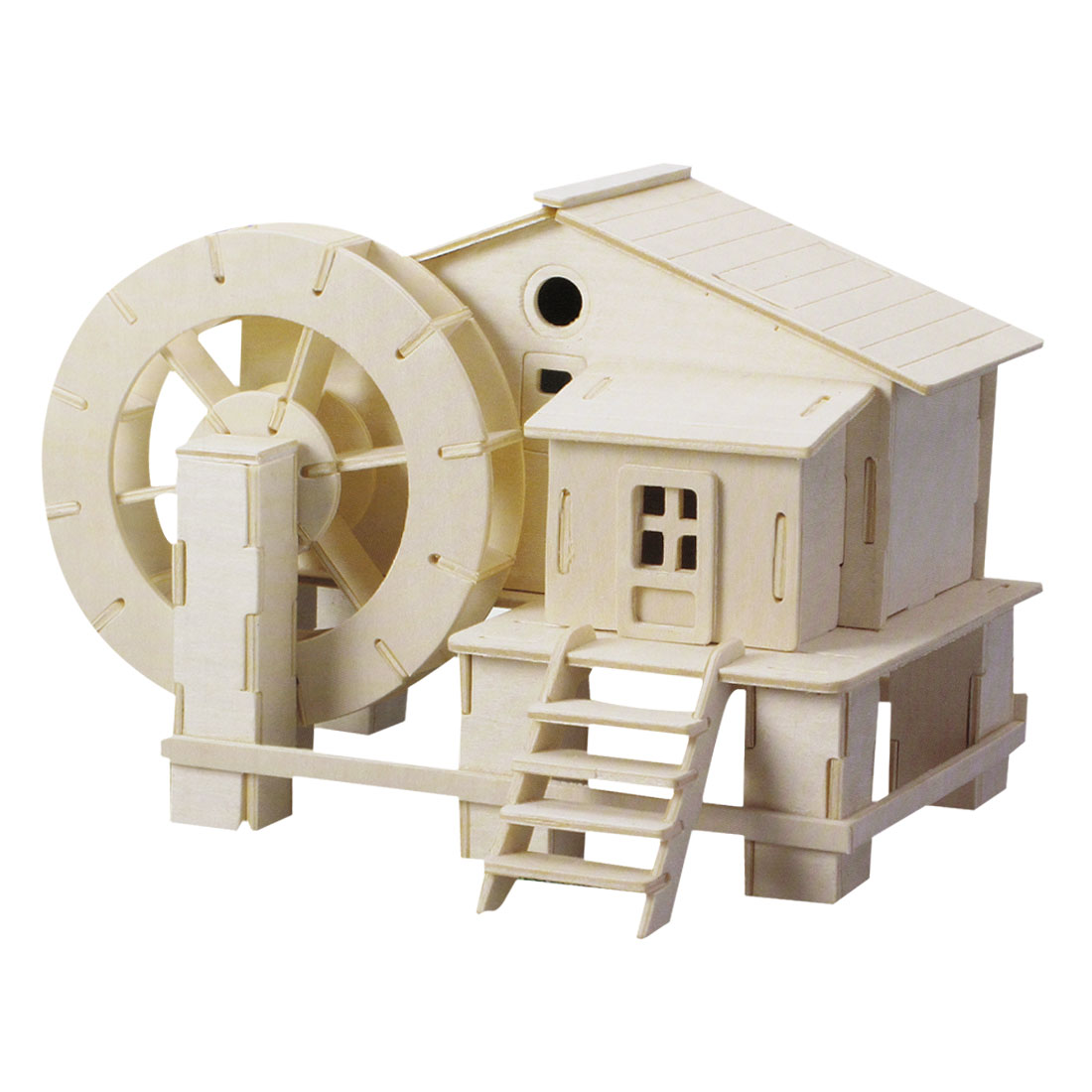 3D Water Mill Model Wooden DIY Assembly Puzzled Toy Gift Woodcraft Toy
