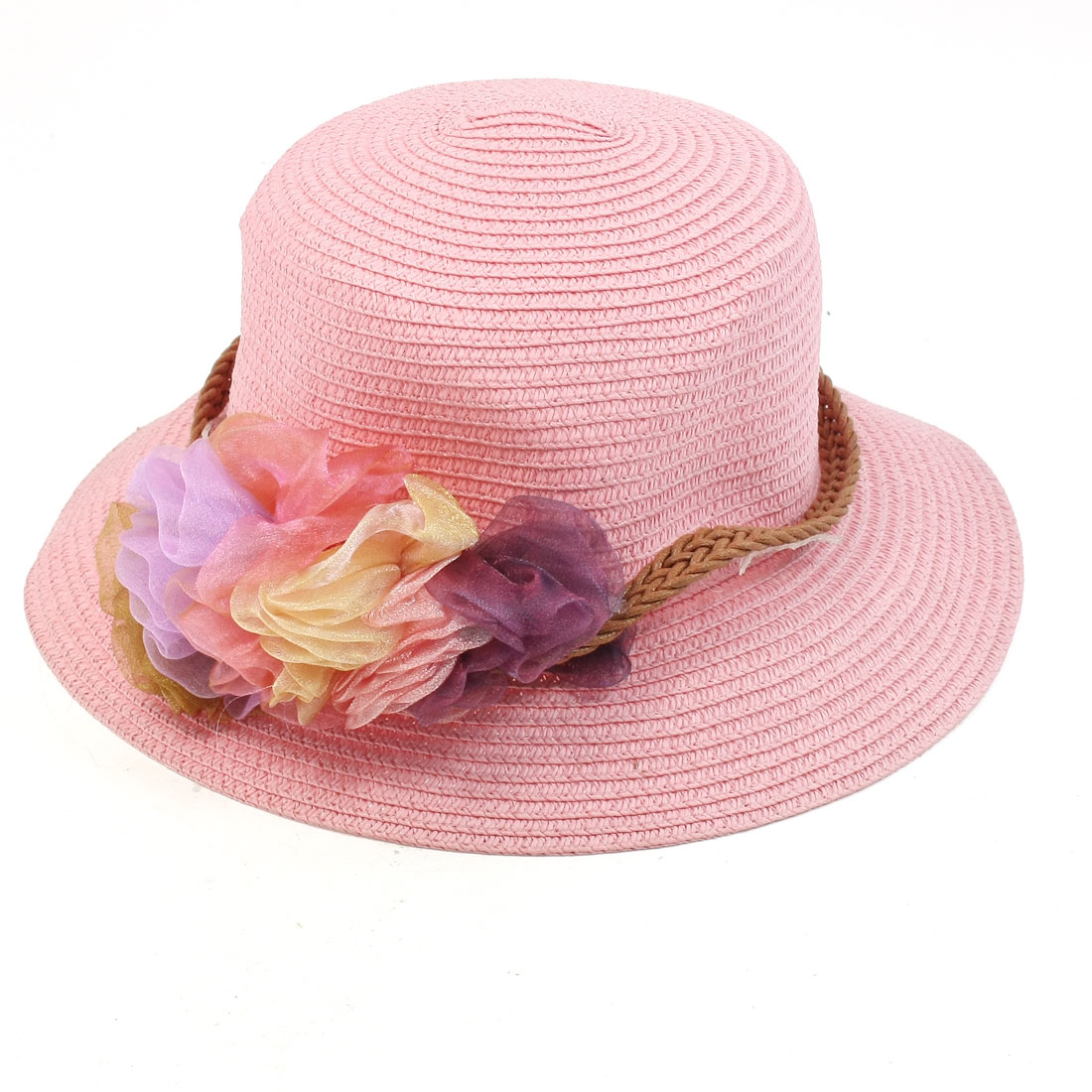 Lady Summer Outdoor Floral Braided Strap Accent Cloche Hat Pink S Size