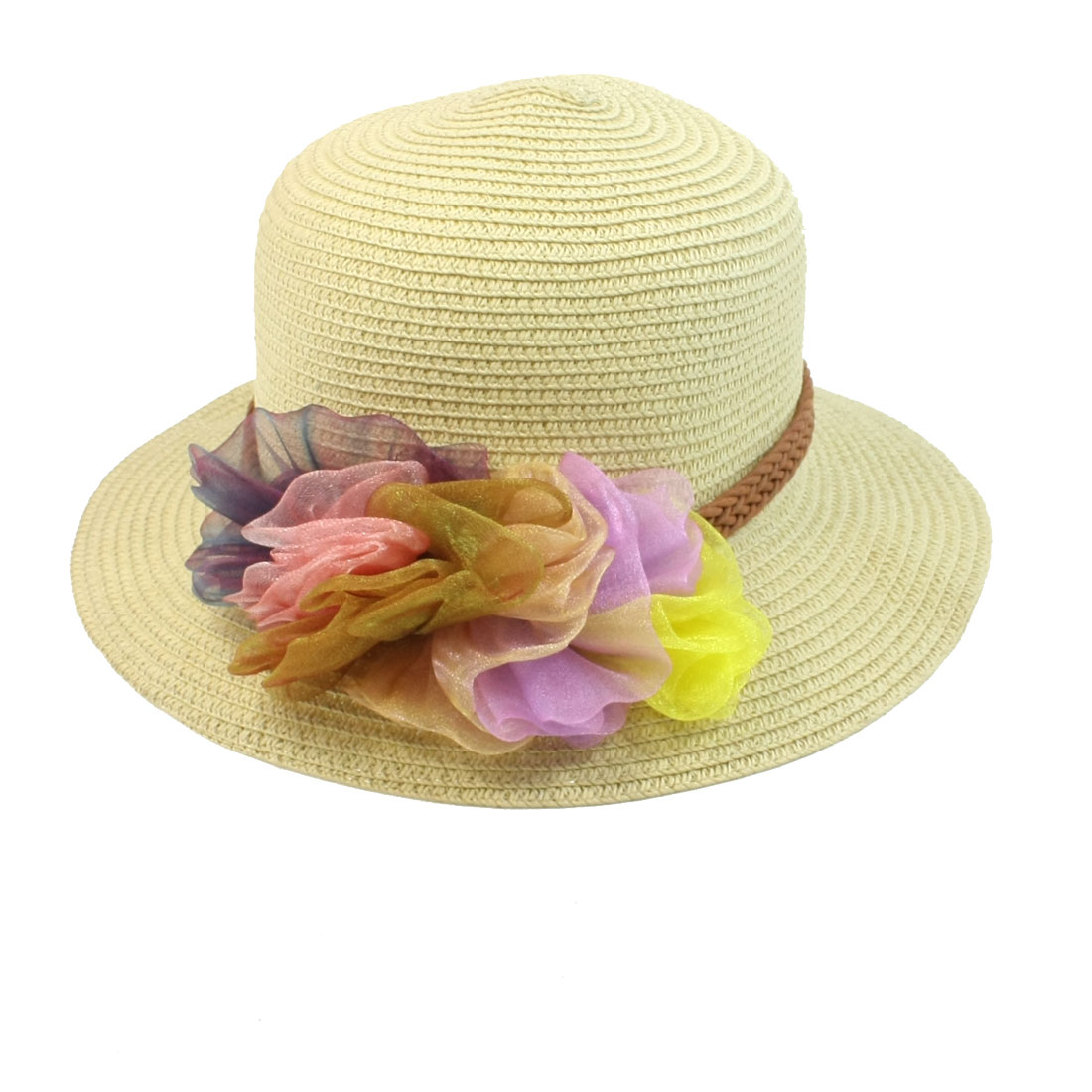 Summer Colorful Chiffon Floral Decor Straw Braided Hat S Size Beige for Woman