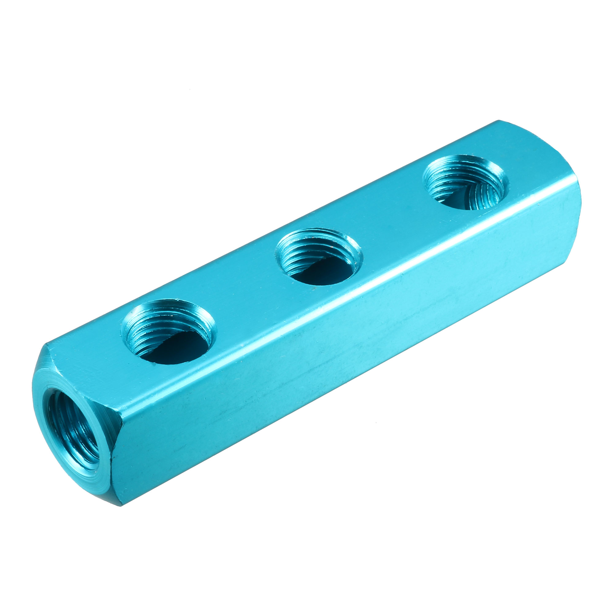 Turquoise Female Thread 3 Ways Air Hose Inline Aluminum Air Manifold Block