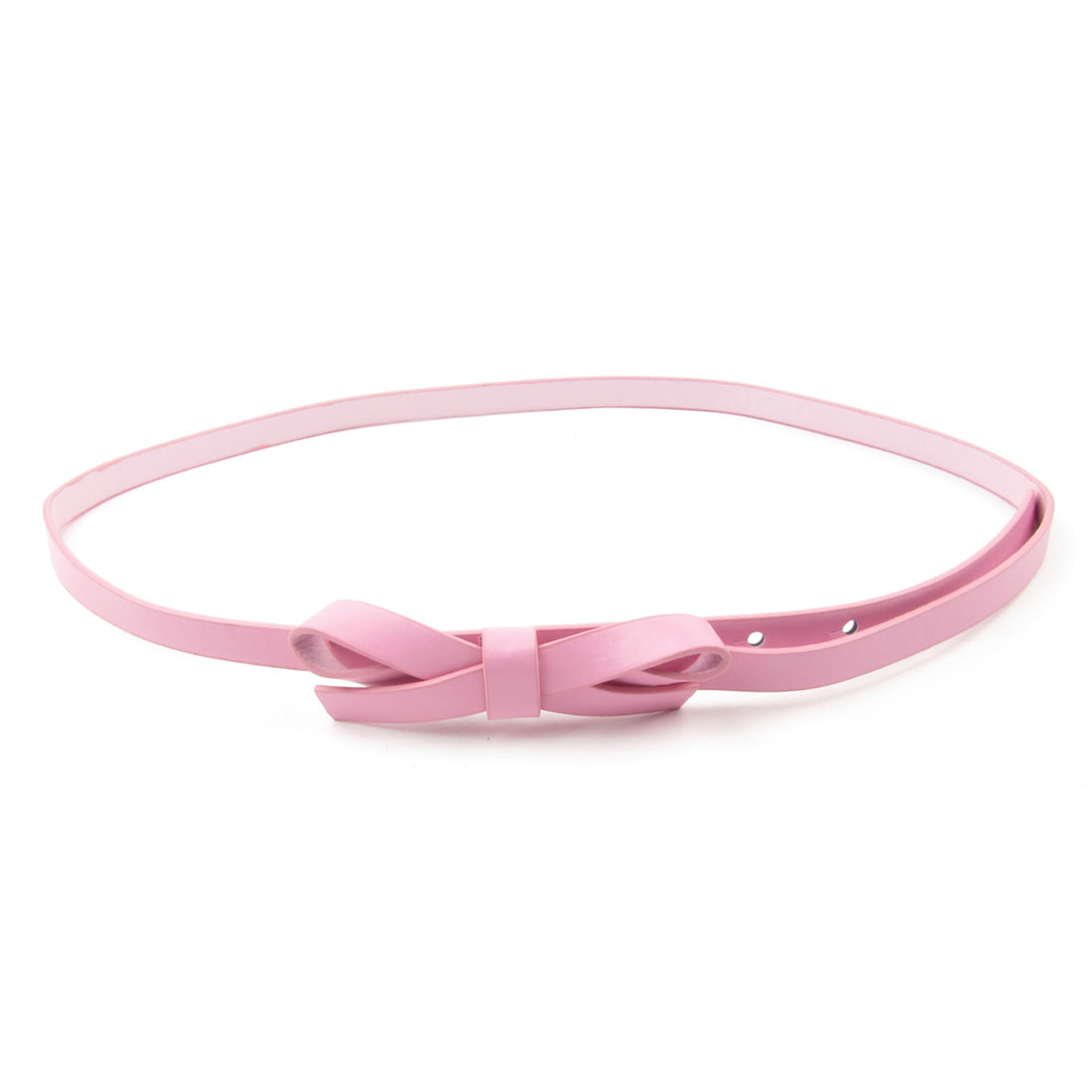 Pink Bowtie Decoration Faux Leather Skinny Waistband Belt for Women