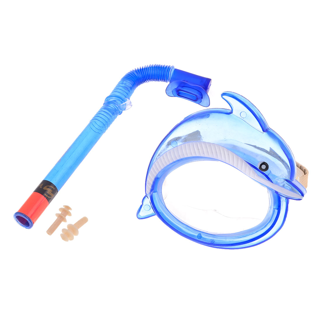 Children Adjustable Strap Glasses Blue Frame Goggles Snorkel Diving Set 3 in 1