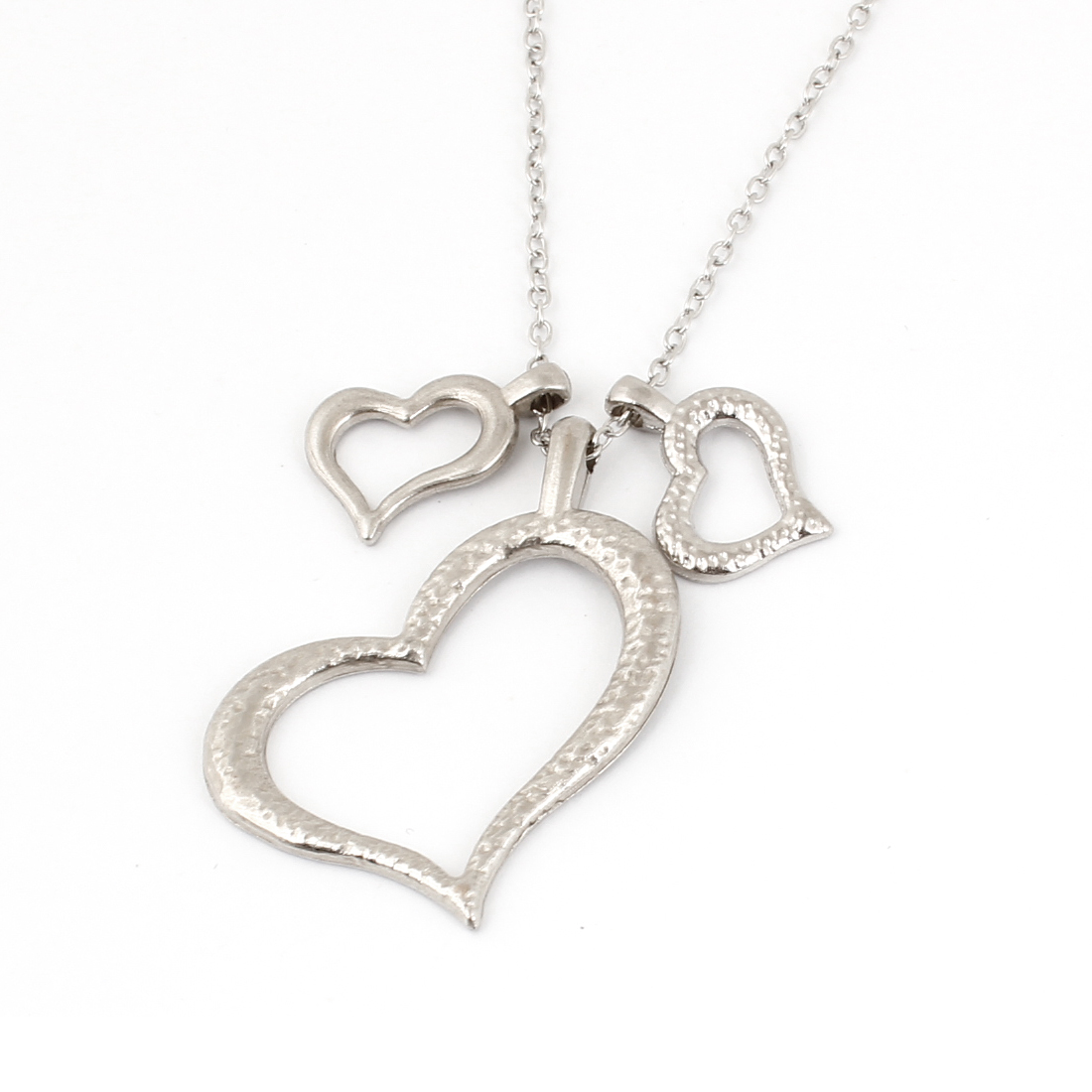 Silver Tone Frosted Love Three Heart Pendants Necklace for Woman