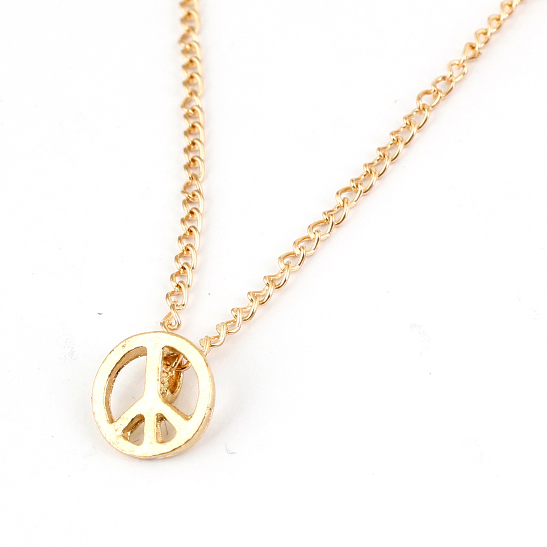 Gold Tone Peace Symbol Pendant Necklace for Ladies