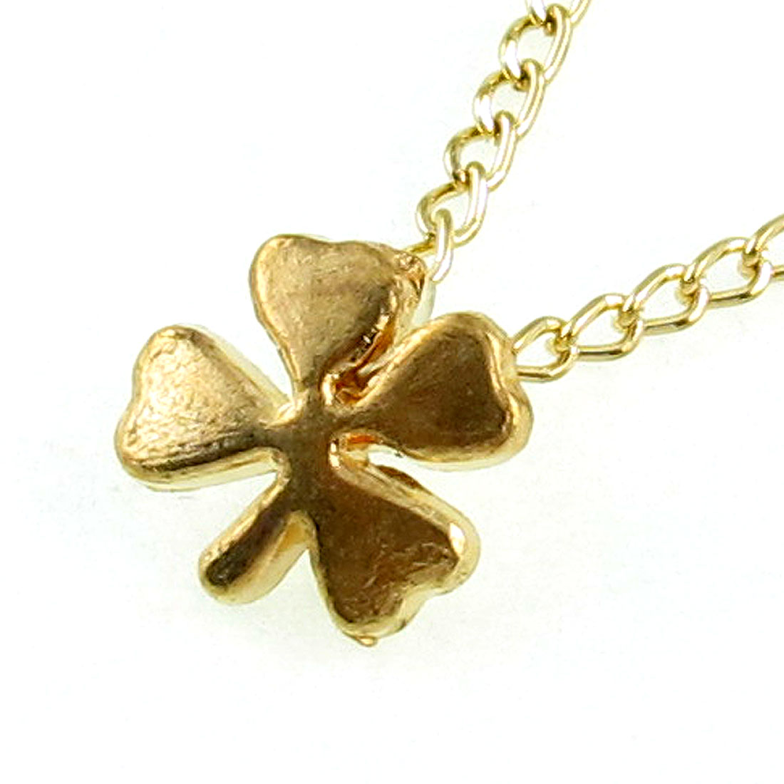 Lady Gold Tone Chain Clover Shaped Pendant Necklace