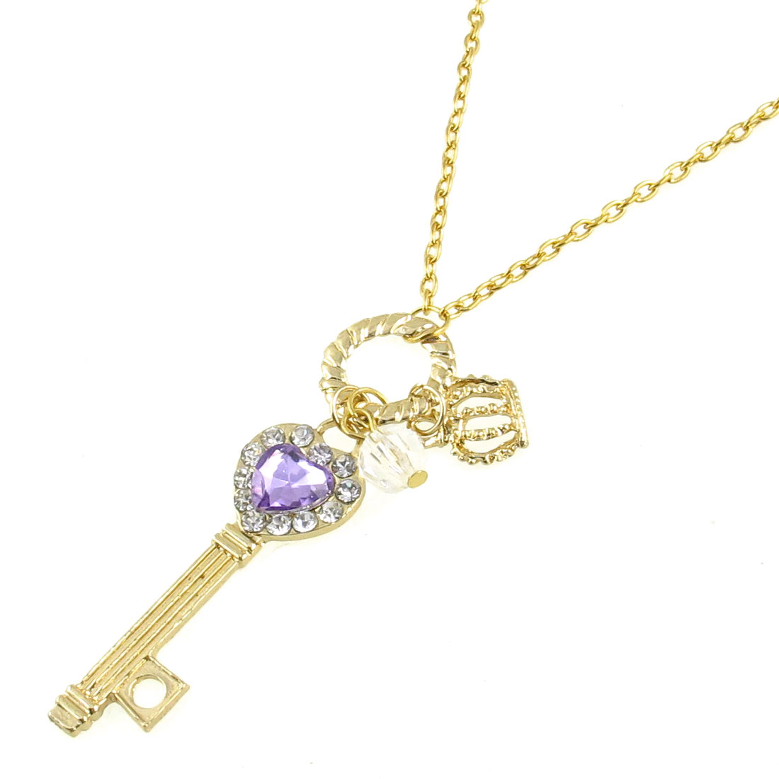 Key Shape Purple Faux Crystal Detail Pendant Gold Tone Necklace Sweater Chain