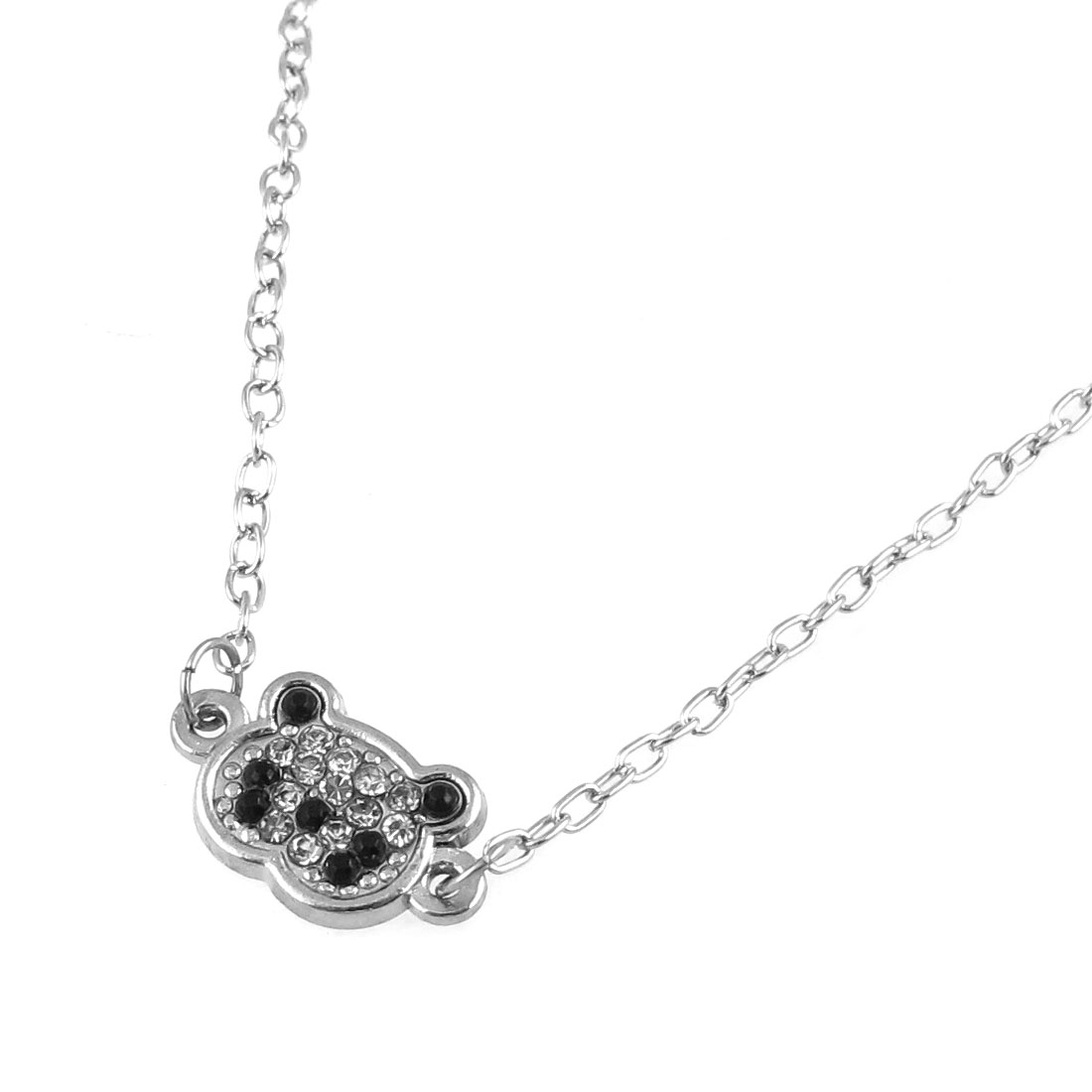 Girl Metal Panda Shape Pendant Cute Decoration Necklace Chain Silver Tone