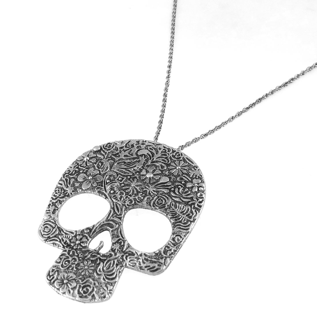 Flower Pattern Skull Head Shaped Pendant Sweater Necklace Silver Tone