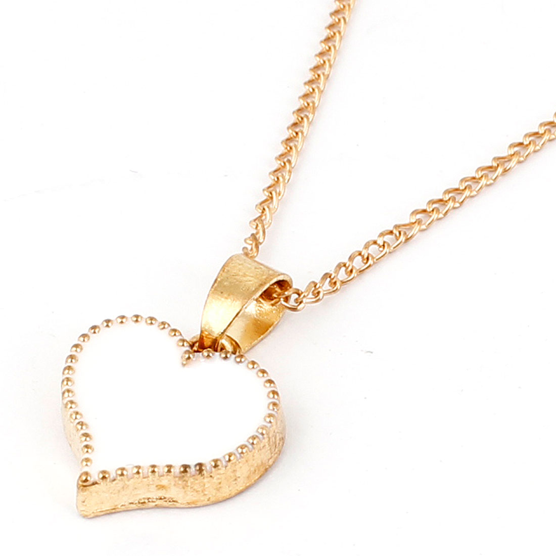 Gold Tone White Alloy Heart Design Pendant Necklace for Woman