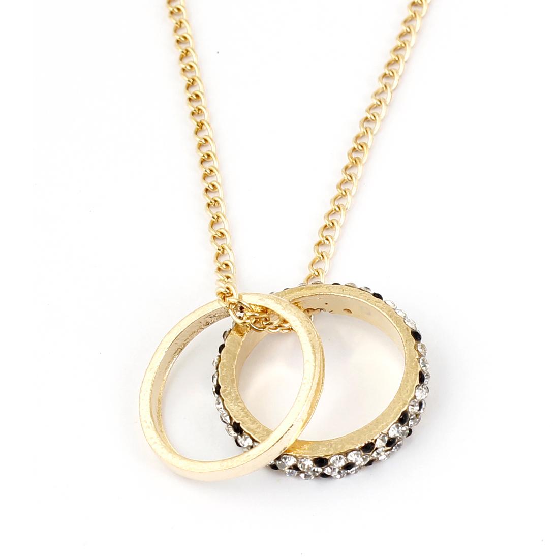 Black White Rhinestones Inlaid Dual Circles Pendant Sweater Chain Gold Tone