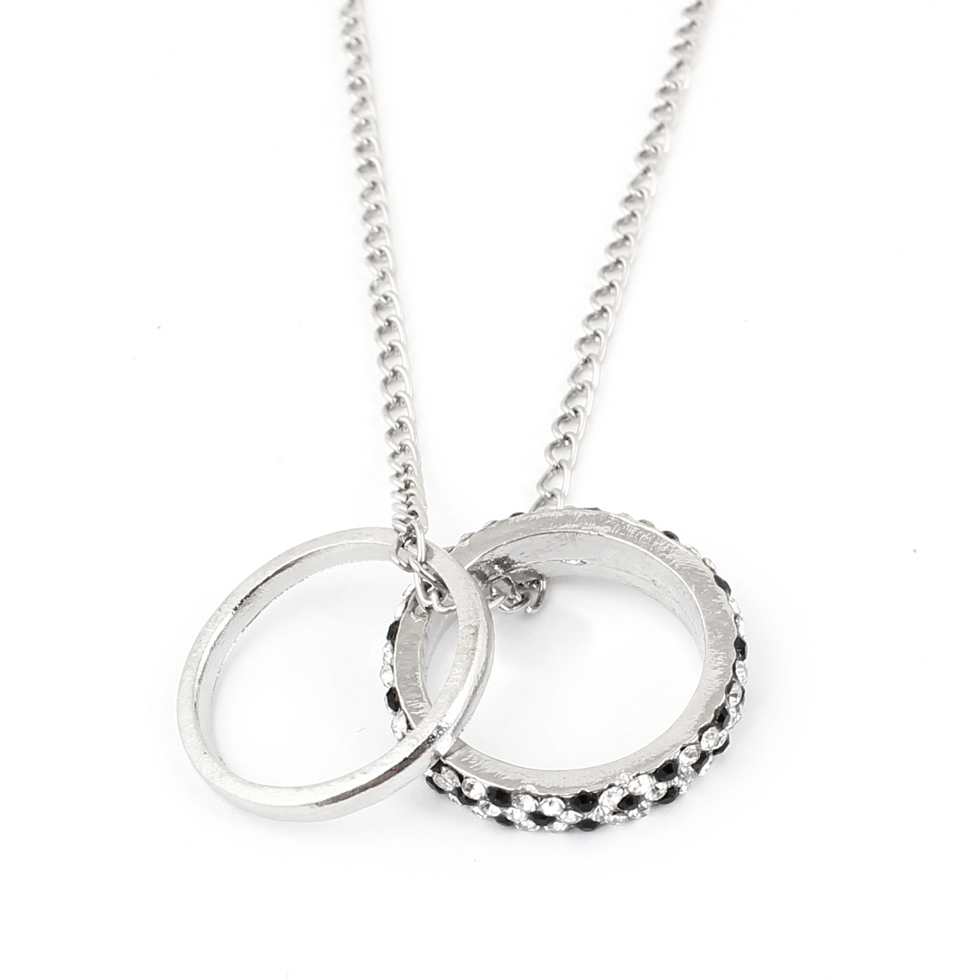Black White Double Circles Pendant Necklace Sweater Chain Silver Tone