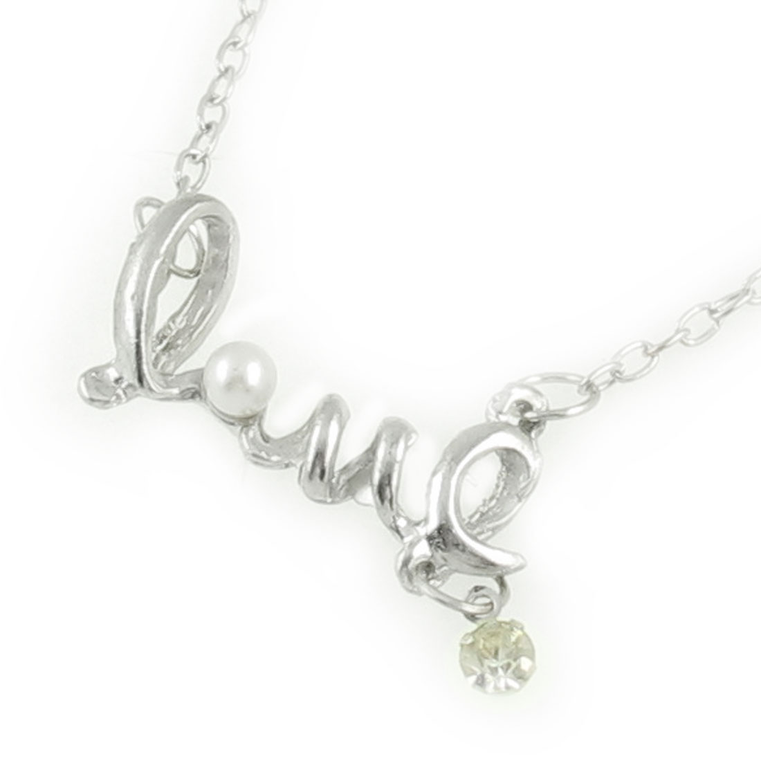 Lady Love Letter Shape Faux Pearl Decor Pendant Silver Tone Chain Necklace