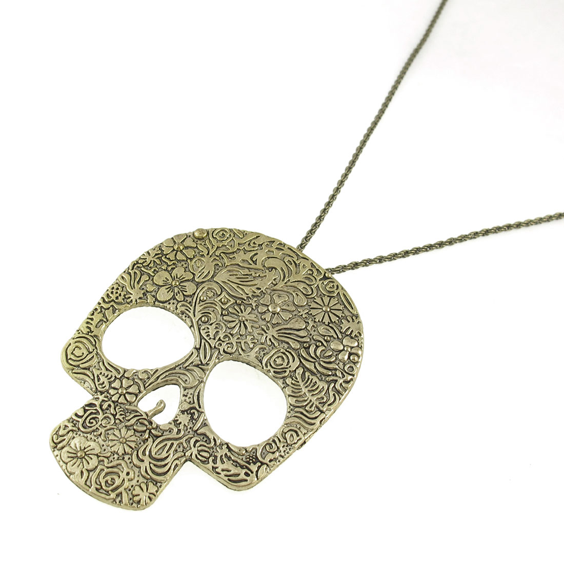 Bronze Tone Flower Printed Human Skeleton Shape Pendant Sweater Necklace
