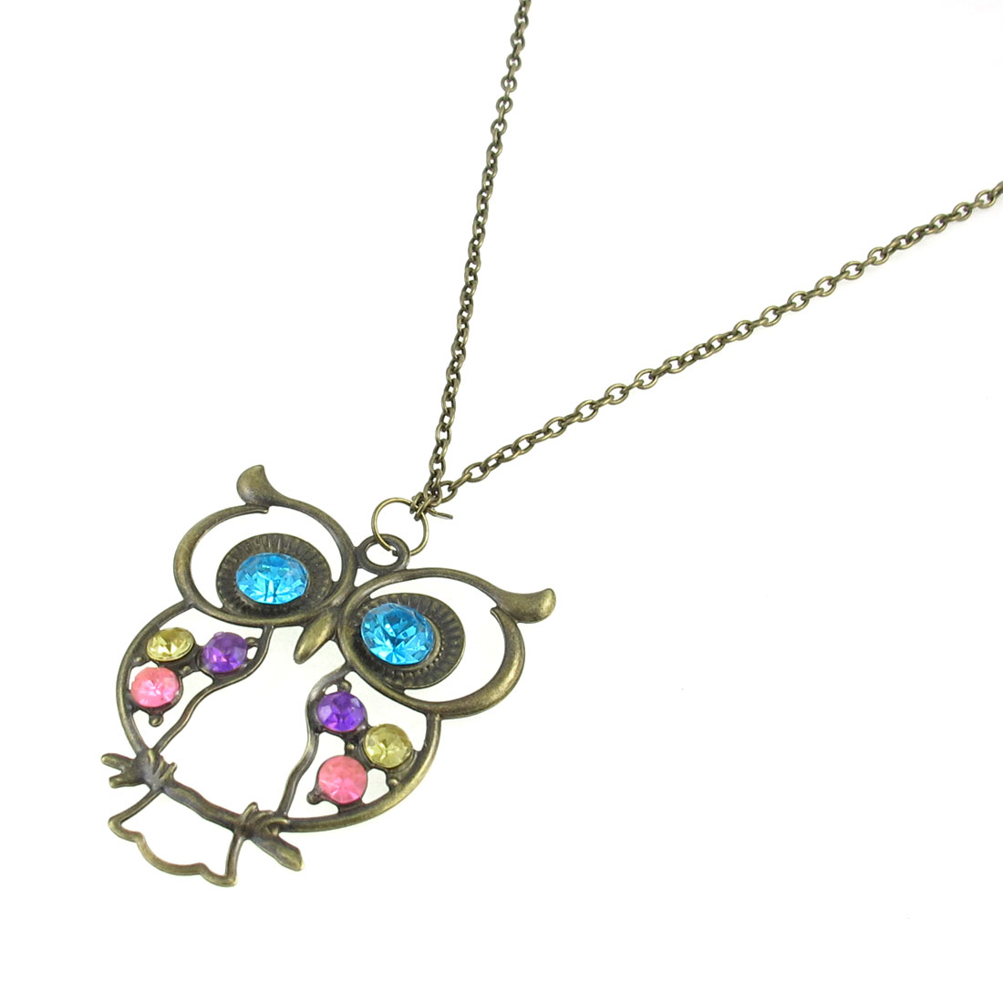 Bronze Tone Chain Blue Purple Rhinestone Decor Owl Shape Pendant Necklace