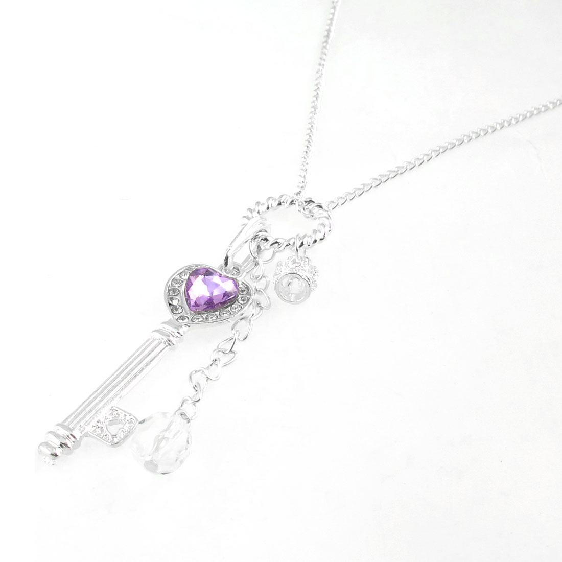 Purple Faux Crystal Decor Key Shape Pendant Metal Silver Tone Necklace Sweater Chain