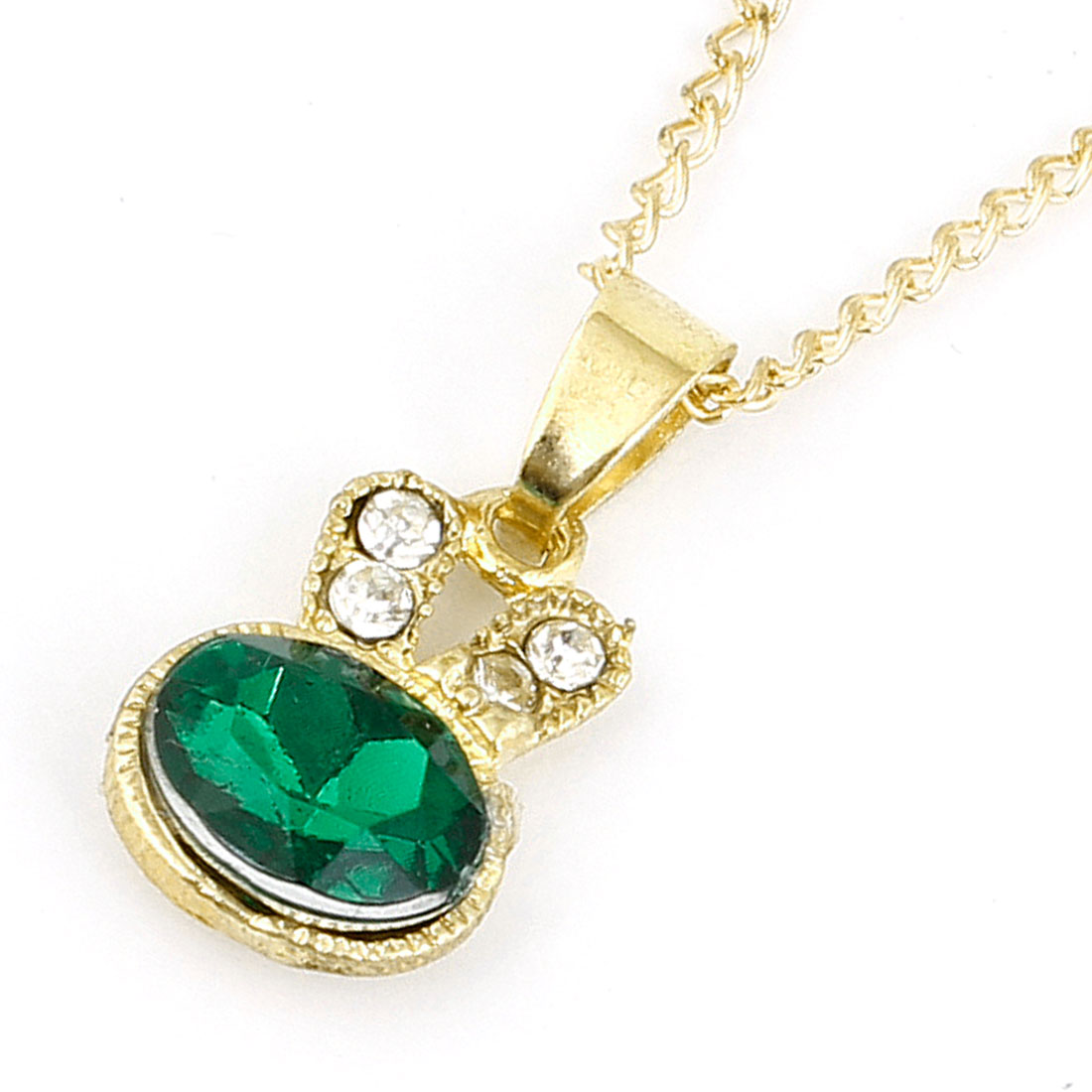 Woman Green Glitter Rhinestones Inlaid Rabbit Shaped Pendant Necklace