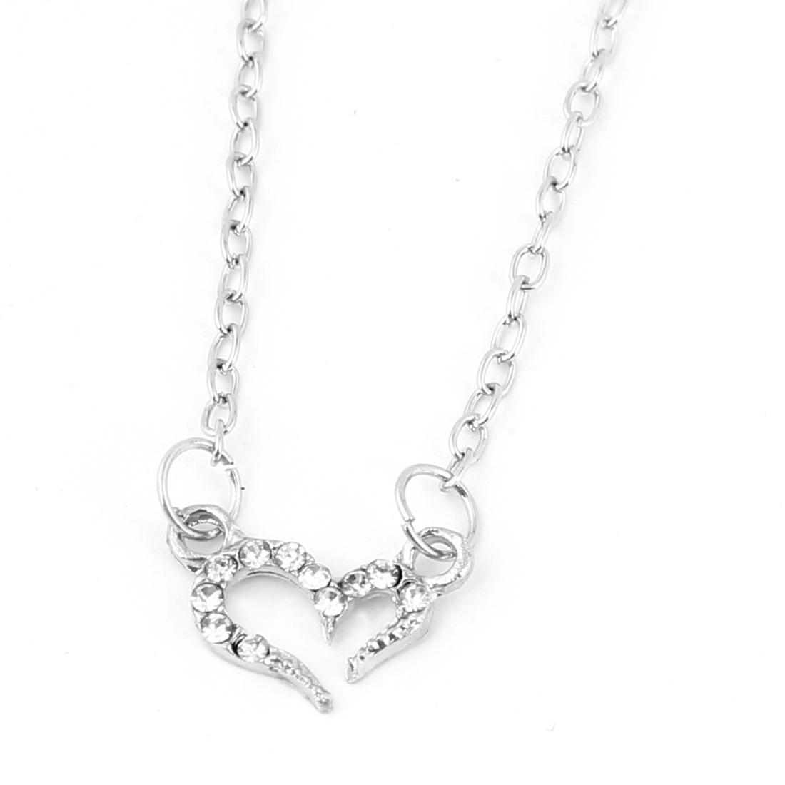 Lady Silver Tone Shiny Rhinestones Inlaid Wishing Love Pendant Necklace