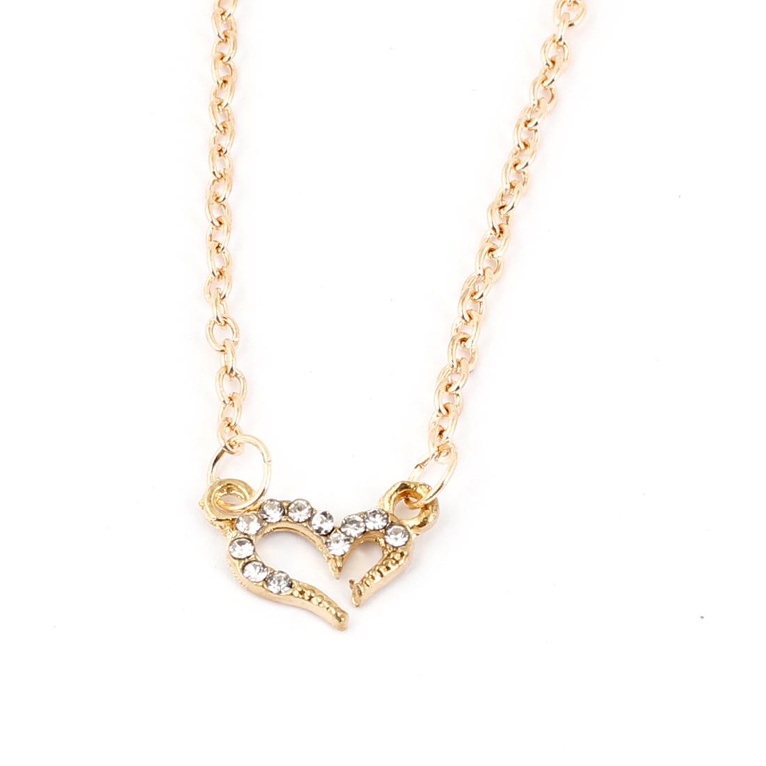 Woman Gold Tone Glitter Rhinestones Inlaid Wishing Love Pendant Necklace