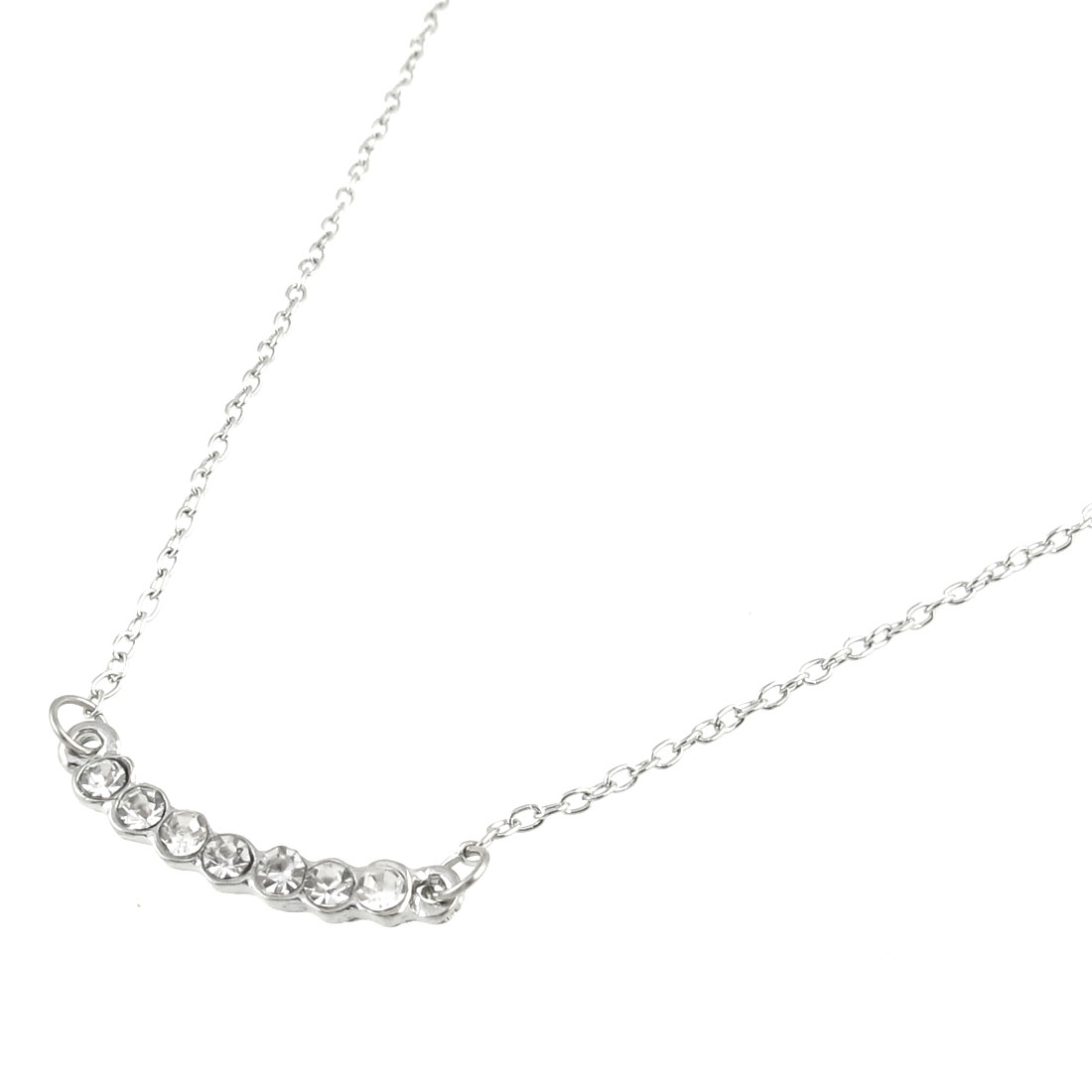 Rhinestone Inlaid Glamshine Pattern Pendant Silver Tone Chain Necklace for Lady