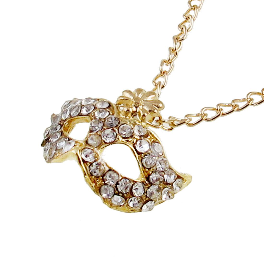 Gold Tone Rhinestone Decor Opera Bohemian Mask With Flower Collarbone Short Necklace