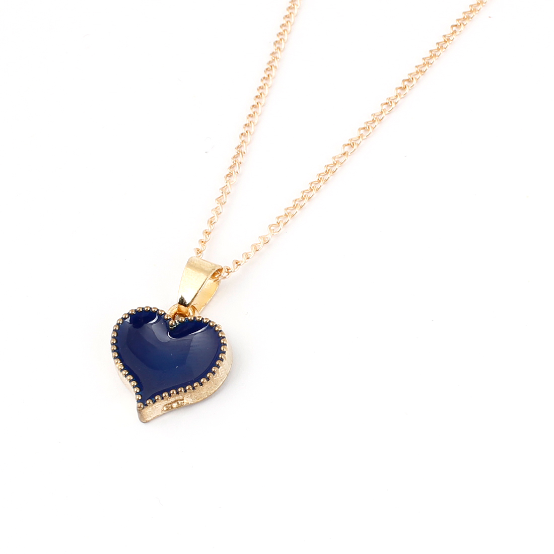 Gold Tone Dark Blue Alloy Heart Shaped Pendant Necklace for Lady