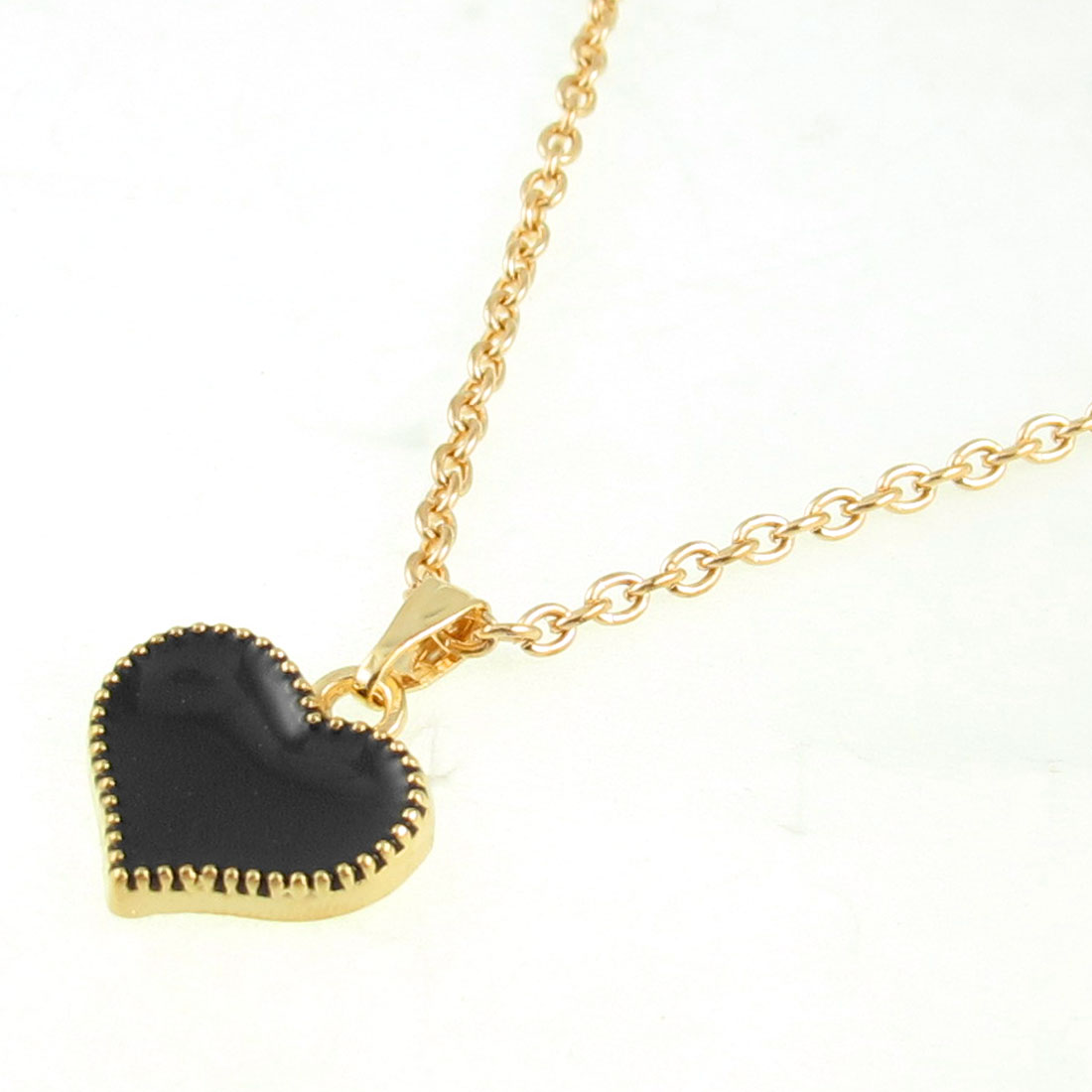 Women Bling Gold Tone Chain Black Heart Pendant Necklace