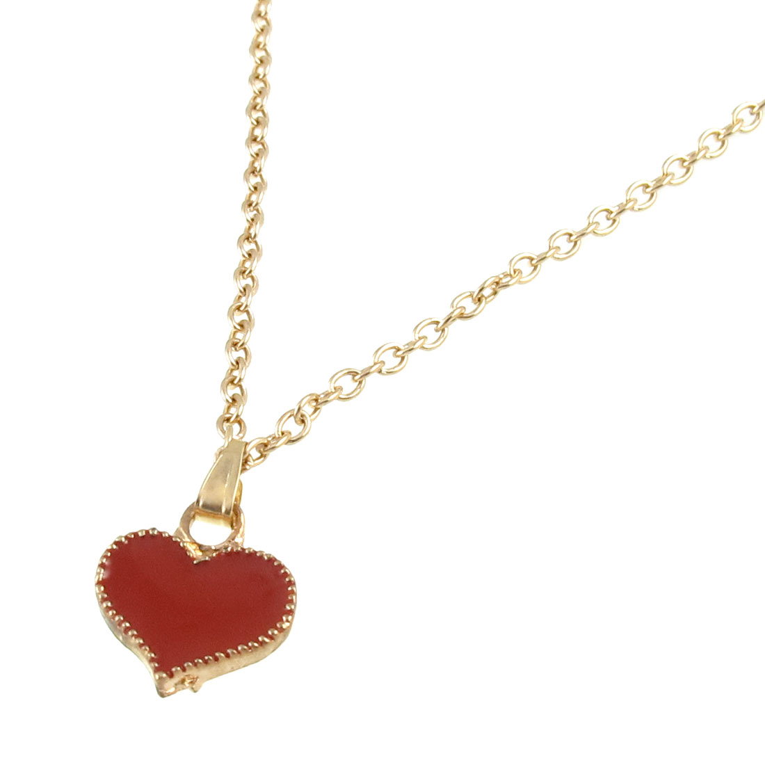 Red Heart Pendant Gold Tone Adjustable Chain Necklace for Lady