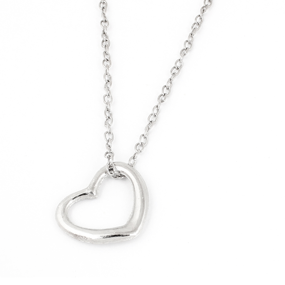 Silver Tone Hollow out Peach Heart Clavicle Necklace for Lady
