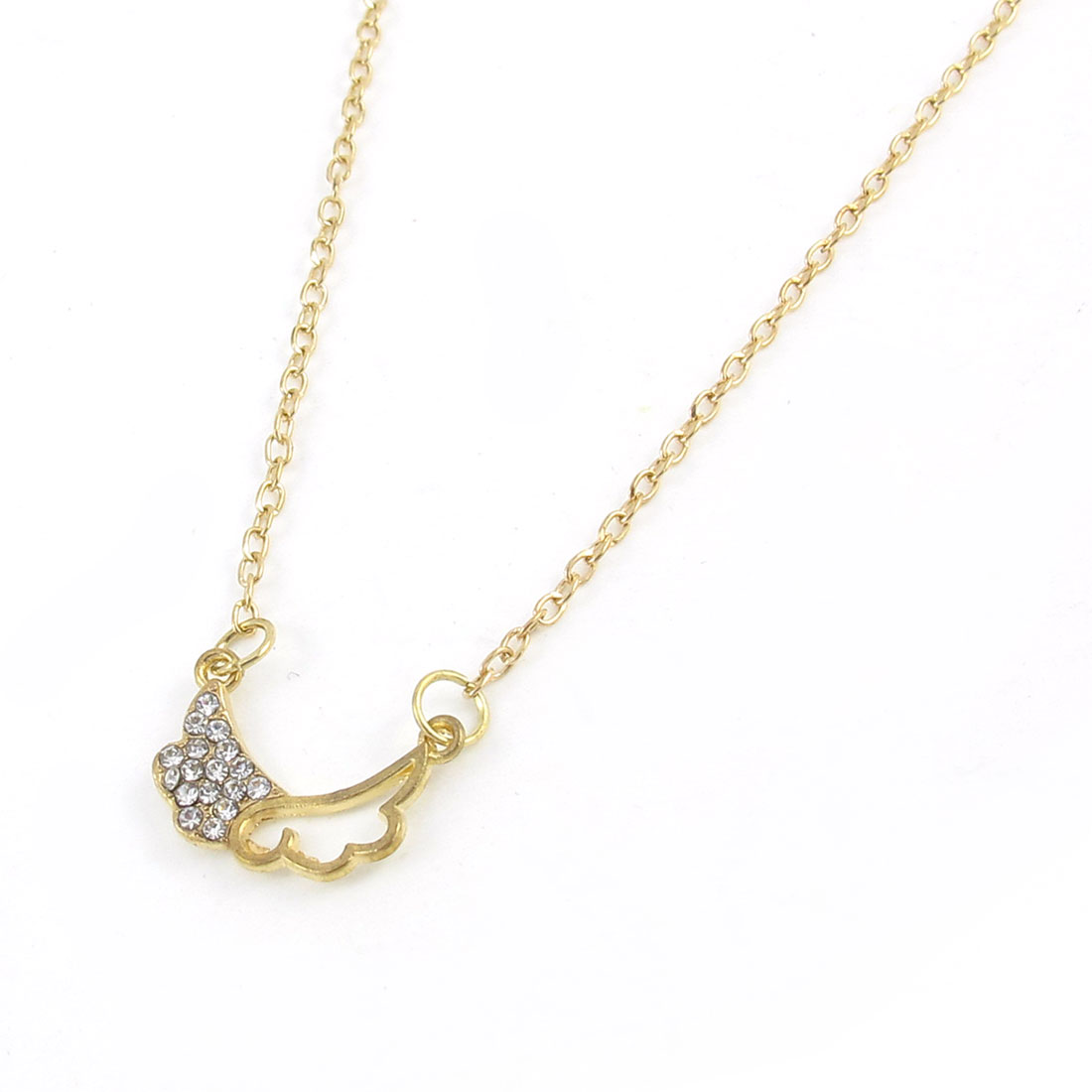 Wing of Love Shape Pendant Necklace Chain Gold Tone for Lady