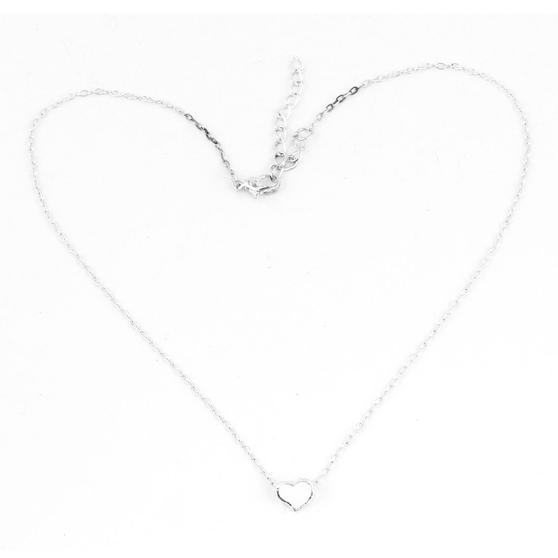 Silver Tone Alloy Heart Shaped Pendant Necklace for Lady