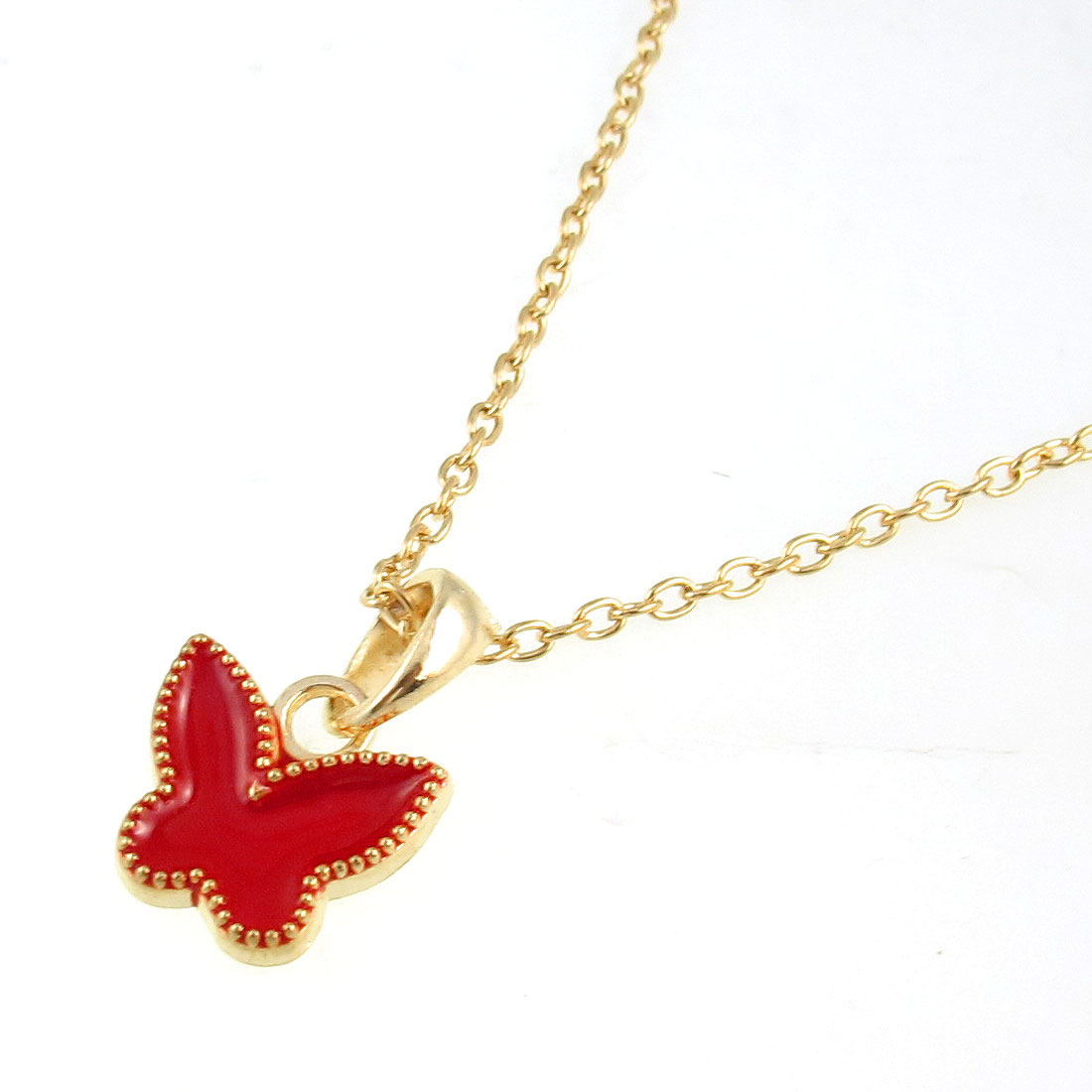 Women Gold Tone Chain Red Butterfly Pendant Necklace