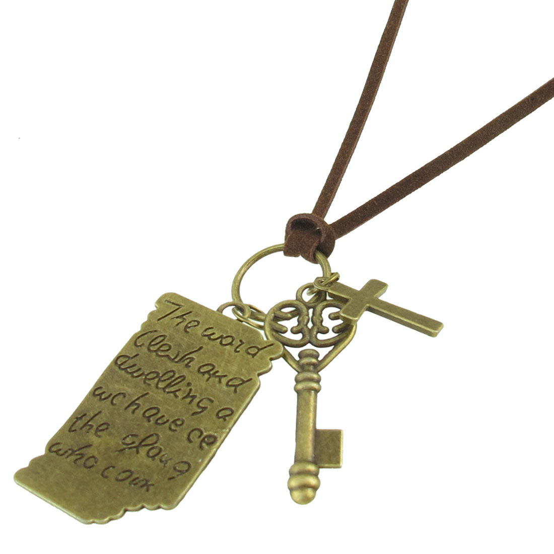 Vintage Style Love Letter Pattern + Cross + Key Shape Pendant Necklace Bronze Tone