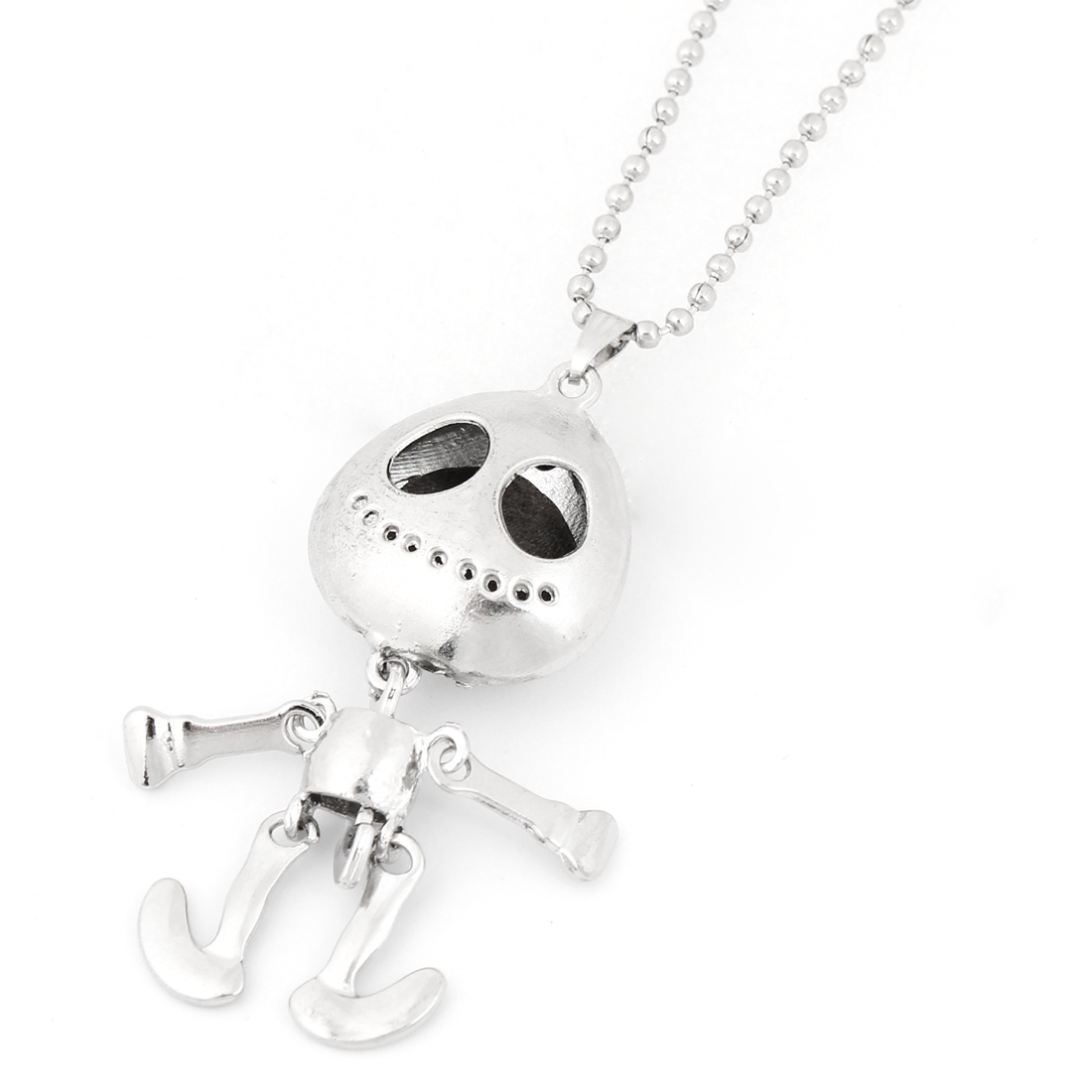 Silver Tone Skull Pendant Necklace Sweater Chain for Lady