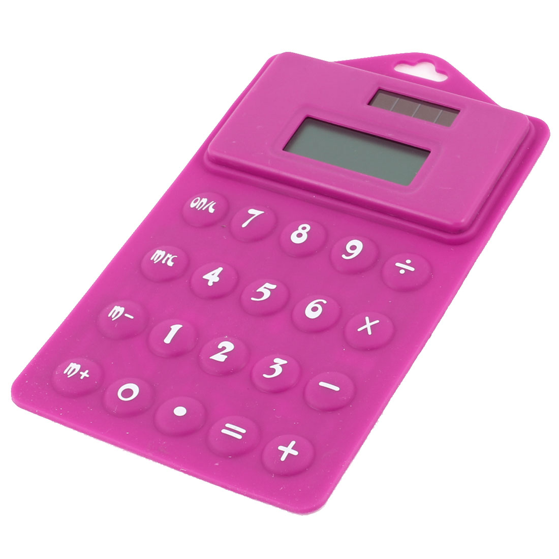 Portable 8 Digits Solar Power Folding Soft Silicone Calculator Fuchsia White
