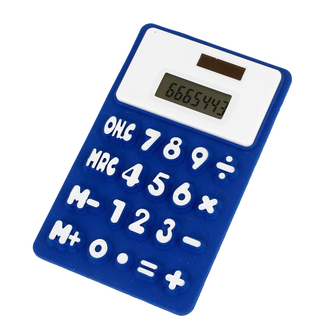 Foldable Silicone 8 Digits Refrigerator Electronic Calculator Blue White