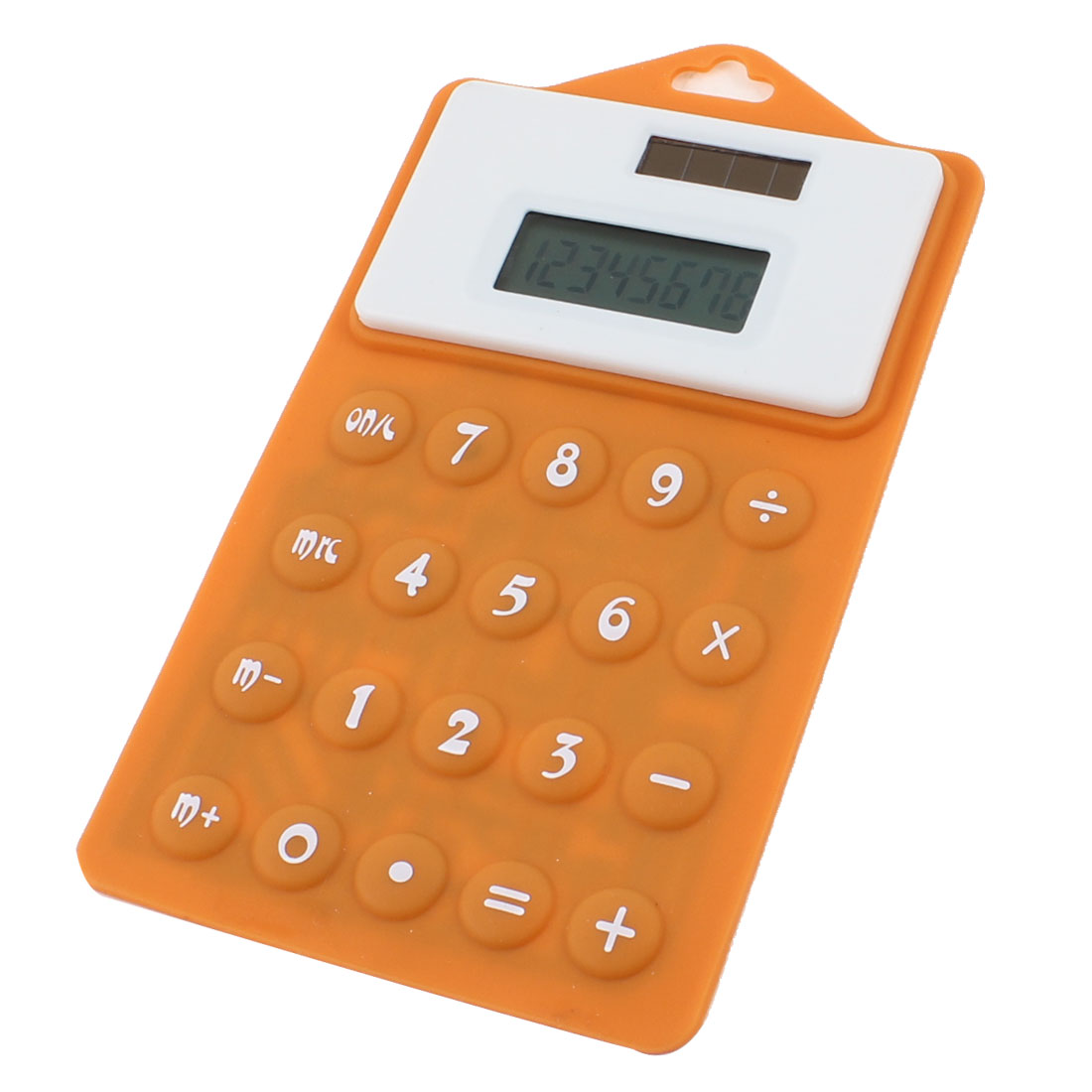 Household Orange White 8 Digital Display Solar Powered Soft Silicone Calculator