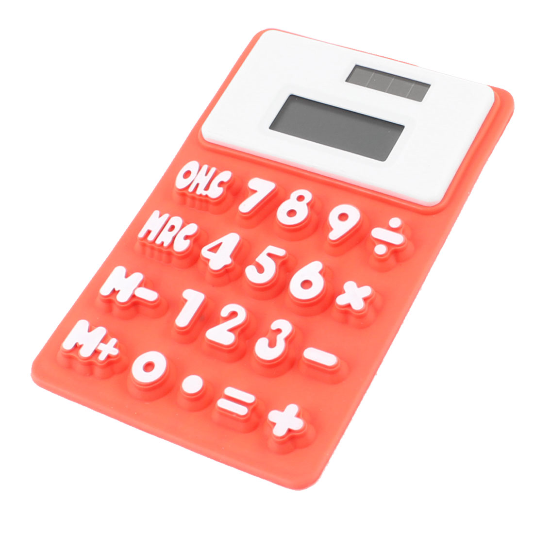 Household Rectangle Shaped Soft Silicone Electronic Calculator White Orange