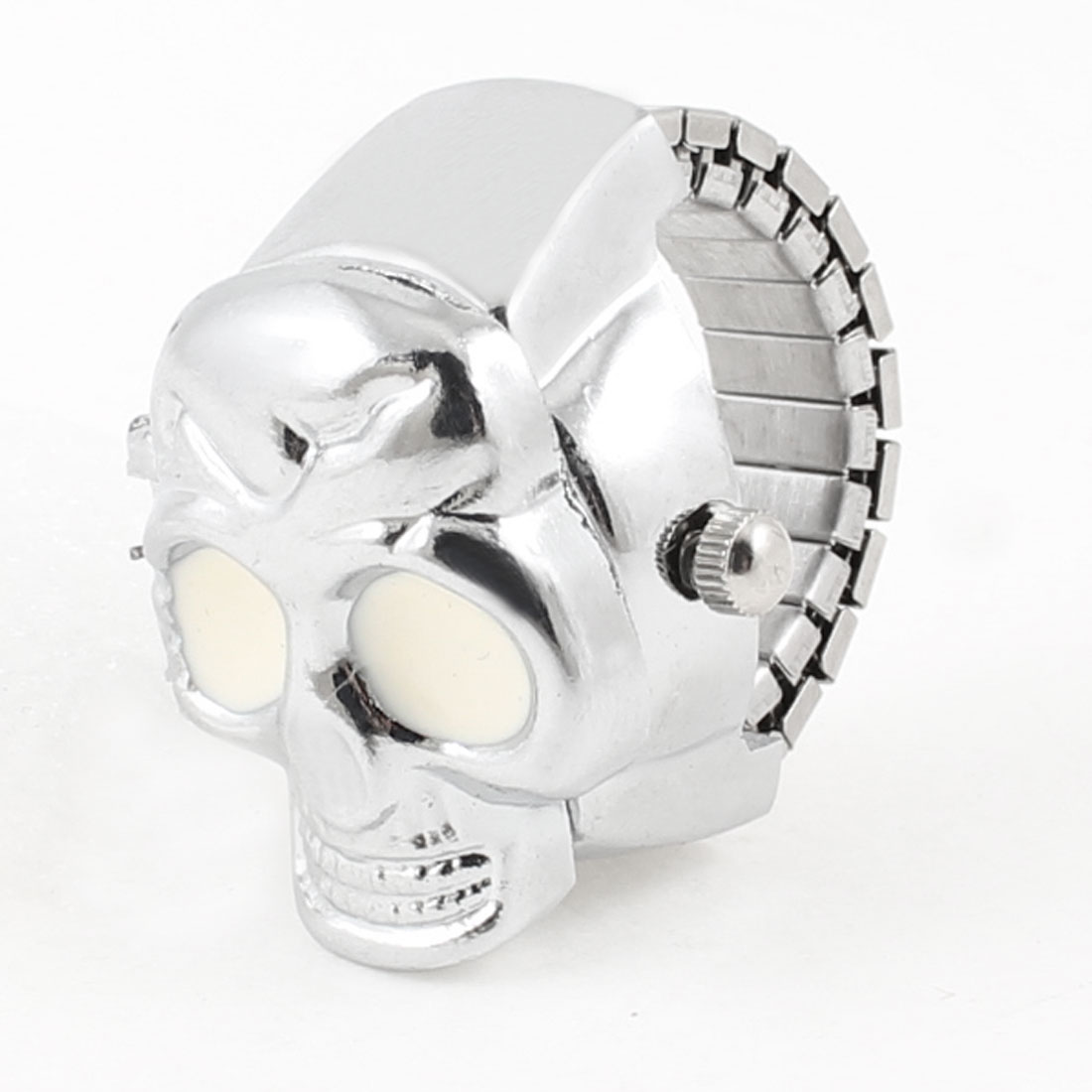 Skull Designed Finger Ring Watch US 4 3/4 White Silver Tone for Adults