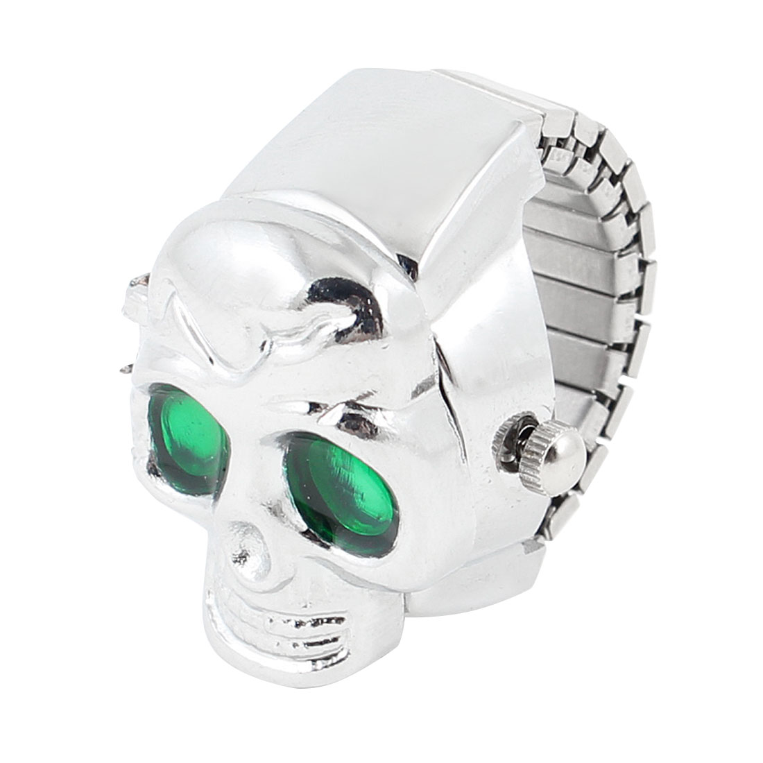 Man Lady Elastic Band Skull Finger Ring Watch UK J Green Silver Tone