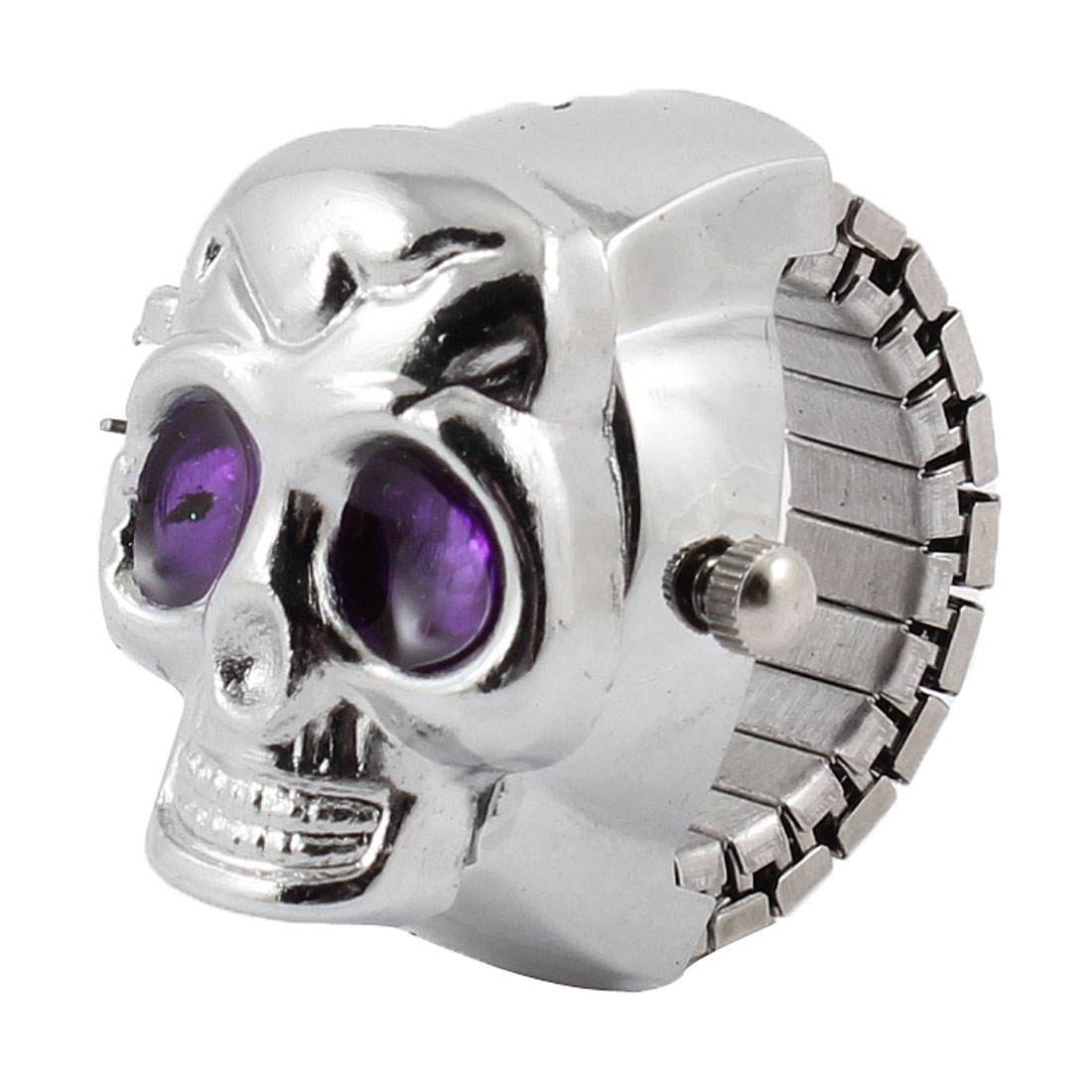 Flip Open Style Skull Shaped Finger Ring Watch US 4 3/4 Purple Silver Tone