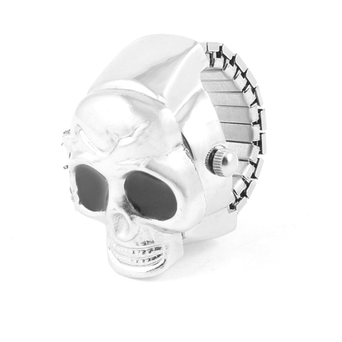 Black Eyes Silver Tone Metal Skull Designed Finger Ring Watch US 4 3/4