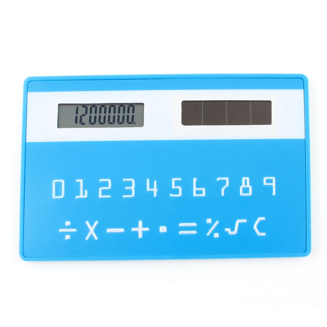 Teal Blue Plastic Card Style 8 Digital LCD Display Solar Power Pocket Calculator