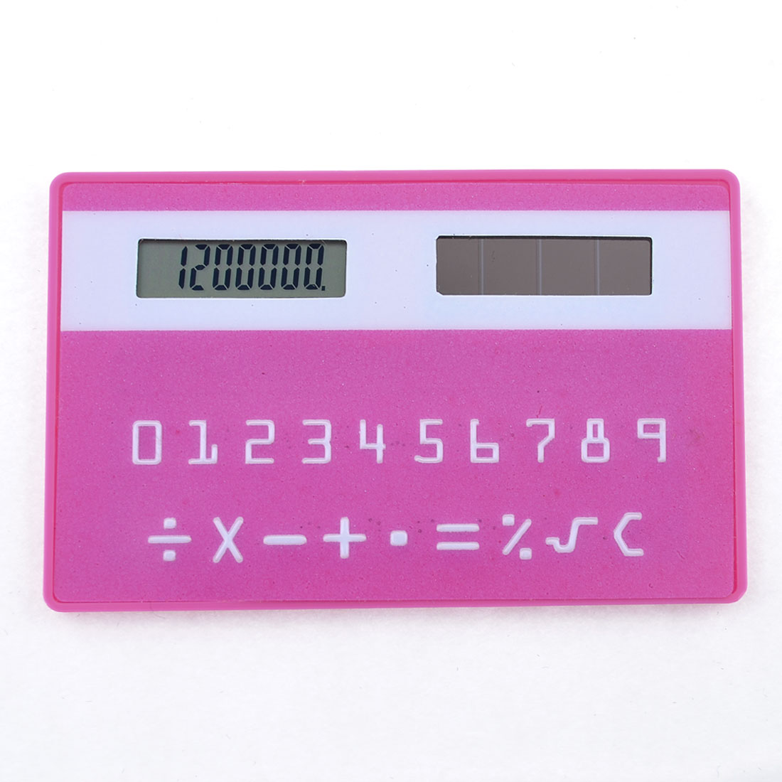 Household Rectangle Card Designed 8 Digit LCD Pocket Calculator White Fuchsia