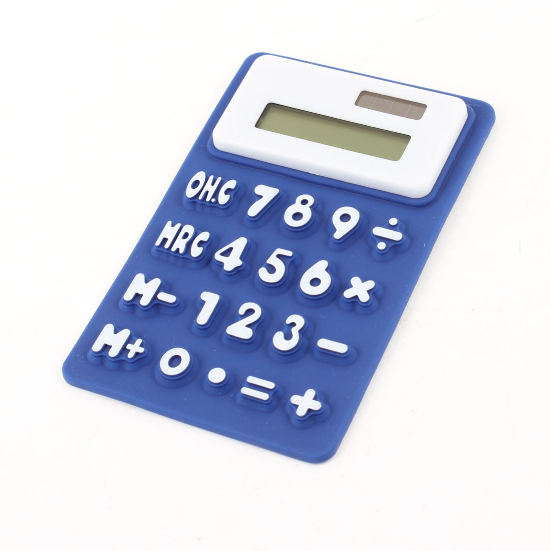 Students School Rectangle Shaped 8 Digits Flexible Calculator White Blue