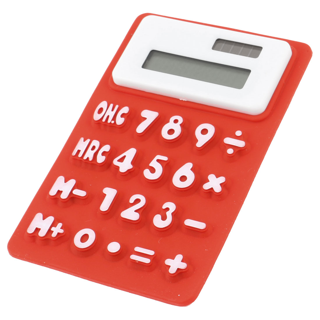 School Red White Silicone Rectangle Shaped 8 Digits Foldable Calculator