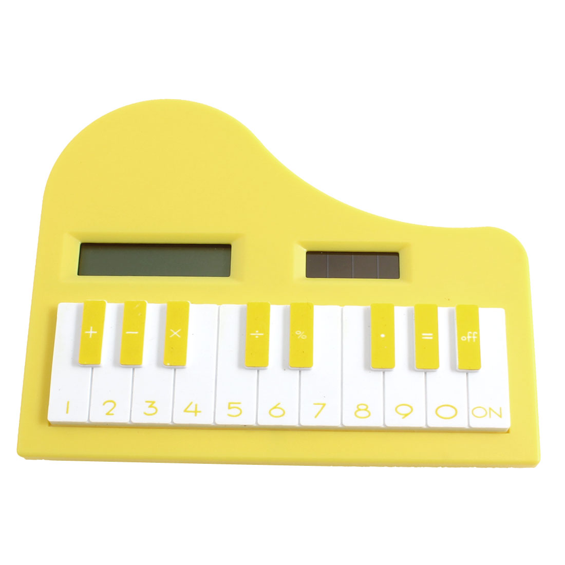 White Yellow 8 Digits LCD Display Piano Calculating Tool Electronic Calculator