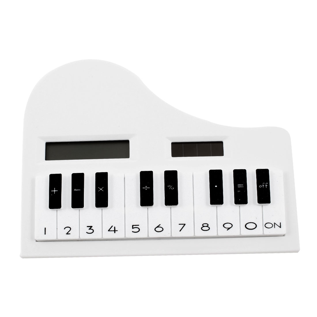 "Household Piano Shaped 8 Digits LCD Electronic Calculator 4.7"" Long White Black"