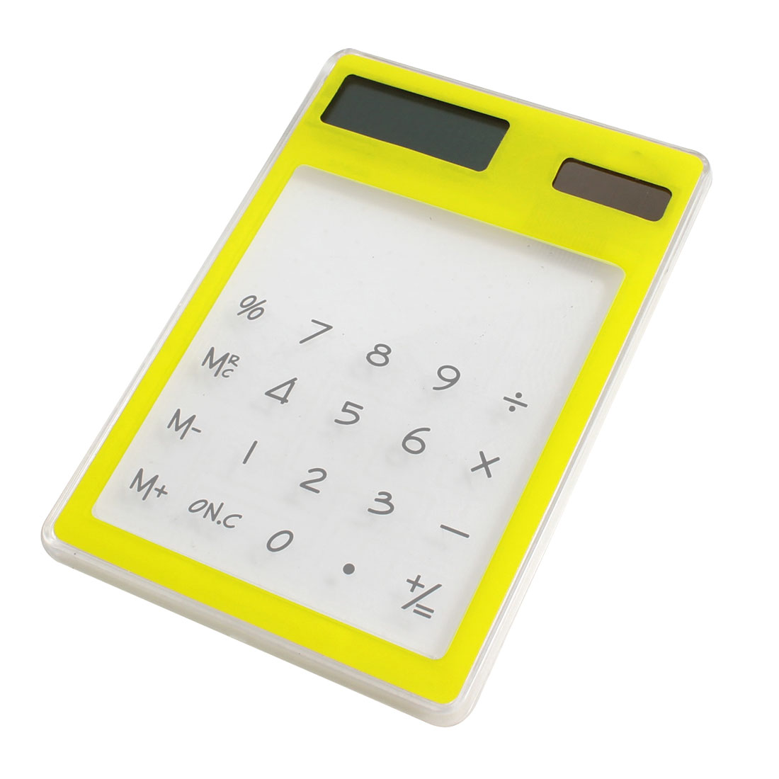 Home Office Rectangle Shaped Yellow Clear Flat Touch Solar Power Calculator